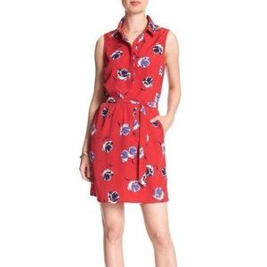Banana Republic Factory Red Floral Shirt Dress, 12